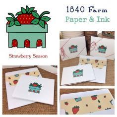 Set of 4 Greeting Cards Strawberry Season by 1840Farm on Etsy