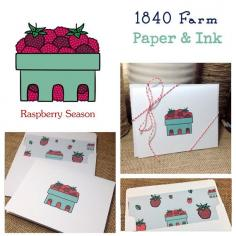 Set of 4 Greeting Cards Raspberry Season by 1840Farm on Etsy