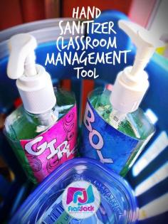 Manage bathroom time with hand sanitizer bottles and FREE labels - easy peasy!:
