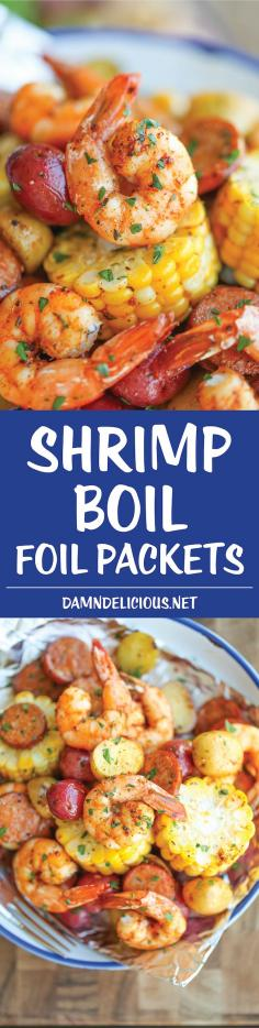 Shrimp Boil Foil Packets - Easy, make-ahead foil packets packed with ...