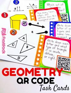 4th Grade GEOMETRY QR Code Task Cards - Students will have self-checking, technology fun while practicing 4th grade geometry skills (common core aligned). There are 24 QR code task cards and an answer key and recording sheet are also provided. $