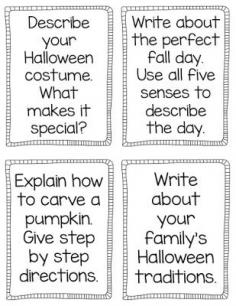 Writing prompts, printables, & activities for Halloween, pumpkins, fall!  NO PREP printable worksheets to keep kiddos engaged during the crazy month of October!