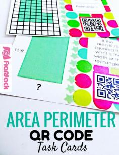 Area Perimeter QR Code Task Cards - Students will have self-checking, technology fun while solving area and perimeter problems involving rectangular figures (4th grade common core aligned). There are 24 QR code task cards and an answer key and recording sheet are also provided. $: