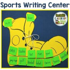 Sports Writing Center -  In general, most boys in the primary grade are extremely creative. Just get a little boy to talk about his favorite sport or superhero and there is no stopping them! But getting them to write all of it down is a little more challenging with boys. Click here to see my quick and easy to prep sports writing center including a list of sports related vocabulary. #Free