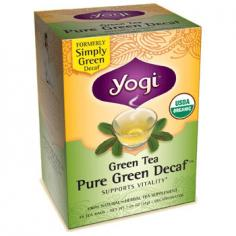 Simply Decaf Green TeaGreen Tea, with its simply delicious flavor, has enjoyed a long and noble history. In Asia, generations have held in high esteem the enchanting essence and intoxicating aroma if this special brew. Over 4,500 years ago, Chinese physicians prescribed green tea as an effective health aid and natural path to vitality and longevity, touting its refreshing taste and astounding health benefits. With six times the amount of antioxidants as black tea, green tea is a gently delicious way to prevent the accumulation of free radicals in your system, prolonging youthfulness while counteracting the effects of the sun and pollutants. Today, we practice the same ancient wisdom of using only the finest organic tea leaves combined with minimal plant processing to preserve the optimal health benefits and superior flavor of pure green tea. Our CO2 decaffeination method removes only the caffeine, leaving all the beneficial elements of green tea intact. Experience the age-old tradition of this life-enhancing tea with our Simply Decaf Green Tea. The delicate medley of organic green leaves from India, China, and Sri Lanka is perfectly blended and wonderfully balanced with the healing wisdom of the past. Organic CareYogi Tea is committed to providing the finest quality teas, sourcing our organic herbs and spices from small farms, and tracking each ingredient from seed to cup. To ensure the purity, quality and perfect flavor of your tea, they heat-seal each tea bag and cello-wrap each box.