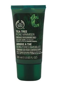 The Body Shop Difference: Using The Body Shop Tea Tree Pore Minimizer, pores look smaller and skin feels purer. It smoothes, primes and instantly mattifies. Minimizes the appearance of pores Matifies for a shine-free finish Leaves skin feeling fresh and pure Ideal base for make-up The Body Shop's Community Fair Trade organic tea tree oil comes from the foothills of Mount Kenya. Tea tree leaves are picked by hand and steam-distilled to release the oil. The Body Shop's trade with the Kenya Organic Oil Farmers Association encourages sustainable and organic farming methods which help to preserve the area's natural biodiversity. Vegetarian. Not tested on animals. Contains Community Fair Trade ingredients. (1.0 oz)