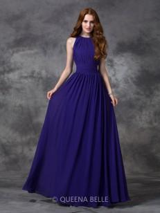 A-line/Princess Sleeveless Ruched Jewel Floor-length Chiffon Bridesmaid Dresses