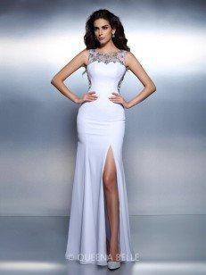 Trumpet/Mermaid Bateau Sleeveless Beading Floor-Length Chiffon Dresses