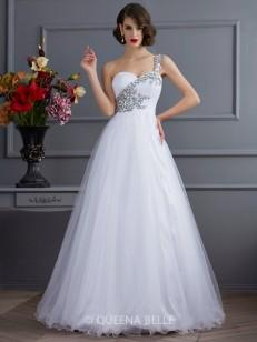 Ball Gown One-Shoulder Sleeveless Beading Floor-length Elastic Woven Satin Beading Dresses