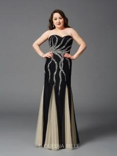 Sheath/Column Sweetheart Beading Sleeveless Floor-Length Chiffon Plus Size Dresses