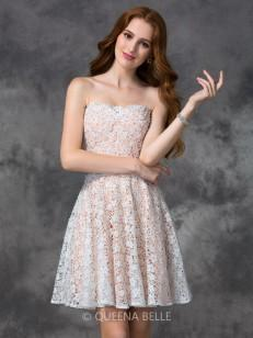 A-line/Princess Sleeveless Sweetheart Lace Short/Mini Cocktail Dresses