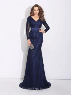 Sheath/Column Long Sleeves V-neck Sweep/Brush Train Lace Dresses