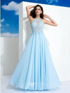 A-Line Floor-Length Gowns 60191