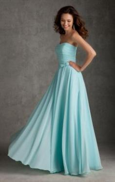 For Girls Blue Green Long Bridesmaid Dress