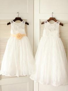 A-line/Princess Scoop Floor-length Lace Flower Girl Dresses with Sash/Ribbon/Belt