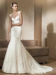 Trompet / zeemeermin Off-de-schouder Lace Sleeveless Tulle Kapel Train Wedding Dresses