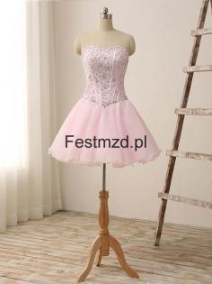 Róż Kochanie Koralikiing Tiul Sukienki Koktajlowe