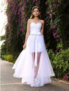 Trumpet/Mermaid Sleeveless Floor-Length Sweetheart Applique Tulle Wedding Dress