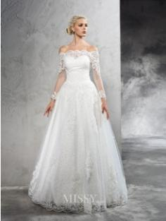 Off-the-Shoulder Long Sleeves Lace Floor-Length Net Wedding Dresses