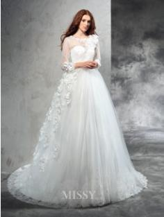 Ball Gown Sheer Neck Long Sleeves Hand-Made Flower Court Train Net Wedding Dresses