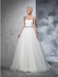 Ball Gown Sleeveless Straps Net Ruched Chapel Train Bridal Wedding Dresses