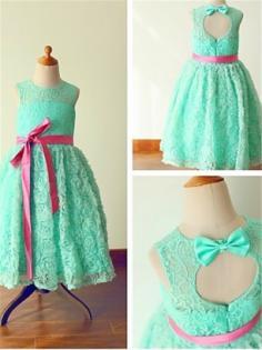 Grün Spitze Juwel-Ausschnitt A-line/Princess Bodenlang Blumenmädchen Kleider