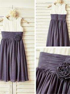 Grey Chiffon Scoop A-line/Princess Floor-Length Flower Girl Dresses