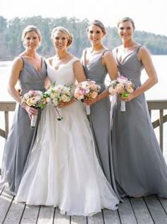 Grey Chiffon V-neck A-Line/Princess Floor-Length Bridesmaid Dresses