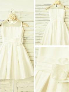 A-Linie/Princess-Stil U-Ausschnitt Handgemachte Blume Wadenlang Chiffon Blumenmädchenkleider