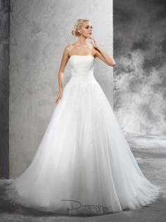 Ball Gown Strapless Applique leeveless Court Train Satin Wedding Dressess