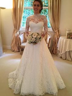 Gorgeous Ball Gown High Neck Long Sleeves Lace Court Train Bridal Dresses