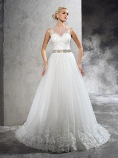 A-Linie/Princess-Stil Schier Ausschnitt Perlenstickerei Hof-Schleppe Netz Hochzeitskleider