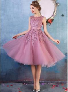 $79 A-line Lace-Appliques Amazing Sheer-Neck Beaded Tea-Length Party Dresses