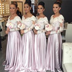 Lange Ärmel Brautjungfernkleider Spitze Bodenlang Kleider Für Brautjungfern Günstig