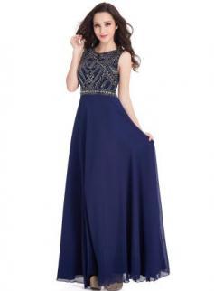 $99 Vintage Dark-Navy Sleeveless Crystals Chiffon Long Prom Dresses