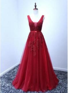 $89 A-line Puffy V-Neck Elegant Lace-Appliques Backless Long Evening Dresses