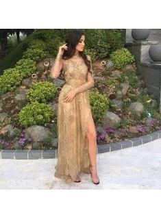 $159 Tulle Appliques Sexy Long-Sleeves Side-Slit High-Neck Gold Prom Dresses