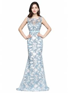 $112 Sleeveless Stunning Lace Mermaid Sweep-Train Sash Prom Dress