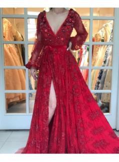 Luxury Rot Abendkleider Spitze Lang Ärmel A Linie Abendmoden Abiballkleider Günstig