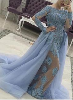 Designer Blaue Abendkleider Mit Ärmel Günstige Lange Abendmoden Spitze Kleider