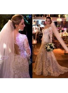 Fashion  Weiße Hochzeitskleider Mit Ärmel Spitze A Linie Brautkleider Online