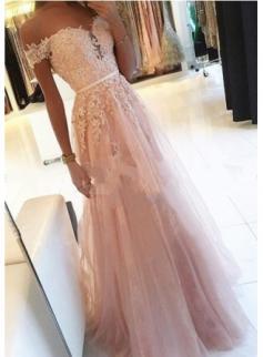 Elegant Rosa Lange Abendkleider Mit Spitze Bodenlang Abiballkleider Abendmoden