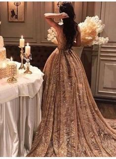 Luxury Goldene Abendkleider Lang Günstig Abendmoden Abiballkleider Online