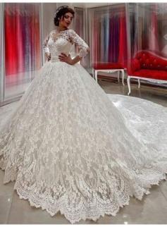 Creme Brautkleider Spitze Mit Ärmel Prinzessin Hochzeitskleider Günstig Online