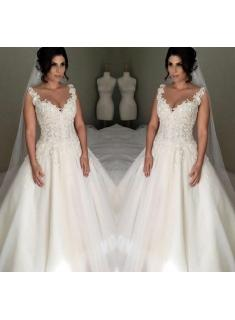 Elegante Brautkleider A Linie Mit Spitze Tülle Hochzeitskleider Zur Hochzeit