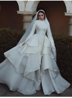 Luxus Hochzeitskleider Mit Ärmel Spitze A Linie Brautmoden Online