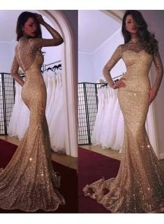 Designer Gold Abendkleider Mit Ärmel Pailletten Abendmoden Abiballkleider Online