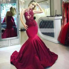 Elegante Abendkleider Lang Rot   Abendmoden mit Spitze Online