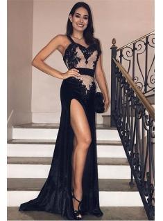 Elegante Abendkleider Lang Schwarz   Abendmoden mit Spitze Online