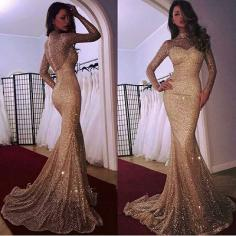 Elegante Abendkleid Gold   Abendkleider Lang Glitzer Mit armel